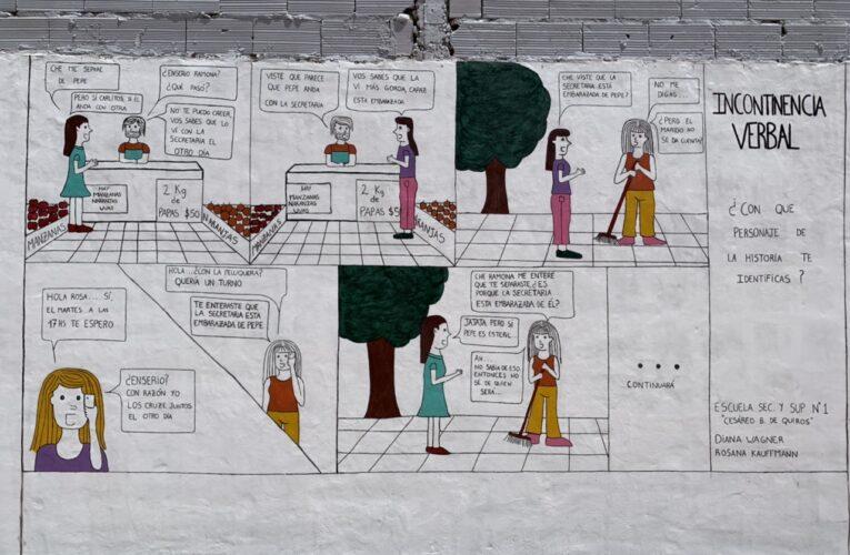 """""""Incontinencia verbal"""": el mural pintado por una joven estudiante basavilbasense"""