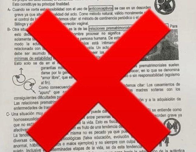 En un colegio de Concepción del Uruguay daban material de estudio homofóbico y discriminatorio