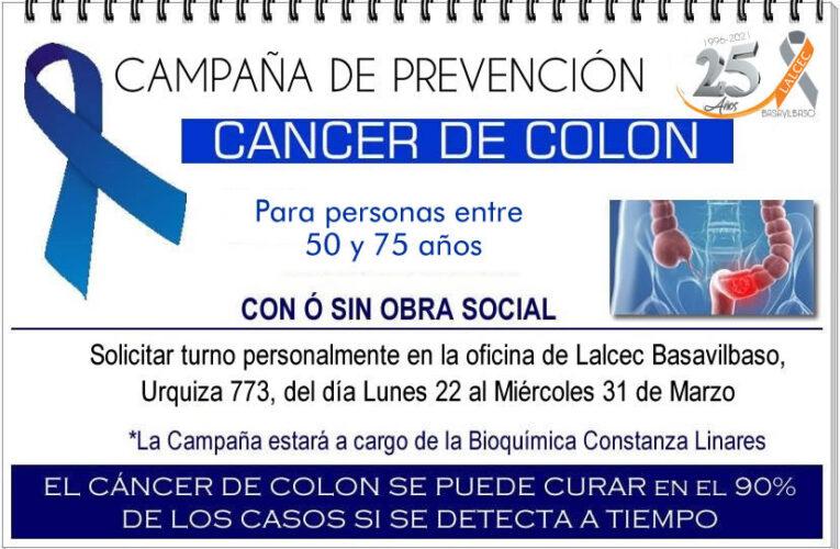 Lalcec Basavilbaso comienza la Campaña de prevención de cáncer de colon